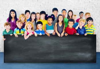 Multi-Ethnic Group of Children Empty Billboard Concept