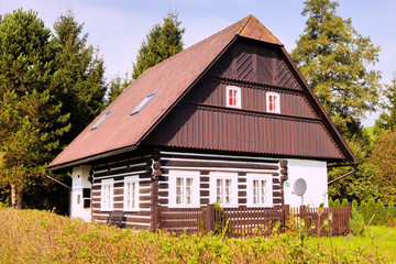 tipical half-timbered cottage in the Giant Mountains