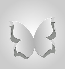 Cut out butterfly, grey paper