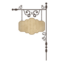 Wooden noticeboard with floral forged elements