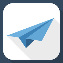 Paper airplane icon with long shadow