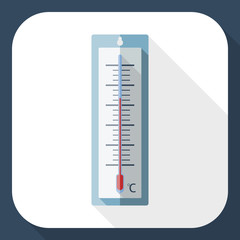 Outdoor thermometer flat icon with long shadow
