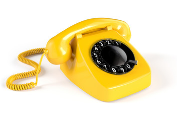 Yellow Rotary Phone isolated on white