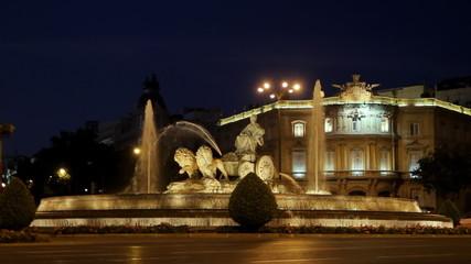 Cibeles Fountain At Night Madrid Spain