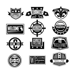 Set of Welcome badges, logos, and  labels