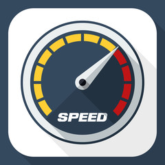 Speedometer icon with long shadow