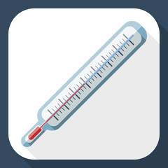Thermometer flat icon with long shadow, vector