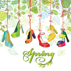 Fashionable colored womens shoes,spring leaves