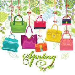 Fashionable colored womens handbags,spring leaves