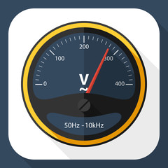 Voltmeter icon with long shadow