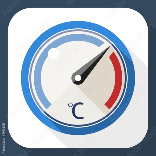 Thermometer flat icon with long shadow - 79938519