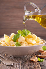 pasta, basil and cooking oil