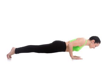 Chaturanga dandasana, four-limbed staff yoga pose