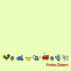 """kindliche Ostermoftive mit Schriftzug """"Frohe Ostern"""""""