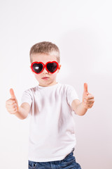 Young boy in sunglasses