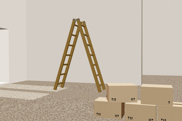 Stepladder and moving box in empty room