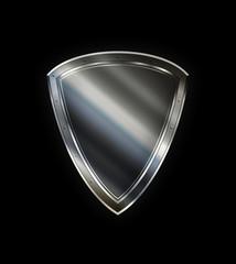 Silver shield on black background.