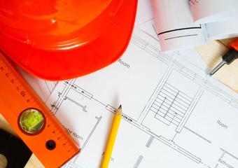 Repair work. Drawings for building, helmet, ruler and others
