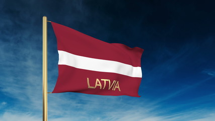 Latvia flag slider style with title. Waving in the wind with