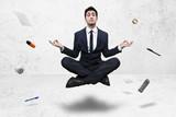 worker doing powerful yoga