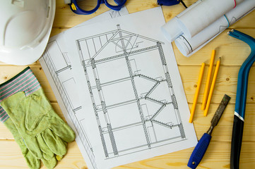 Repair work. Drawings for building, helmet, mount and others