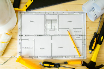 Repair work. Drawings for building, saw, hammer and others tools