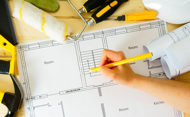 Repair work. Drawings for building, women hand, saw and others