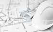 Leinwanddruck Bild - Drawings for building house and helmet. Working drawings.