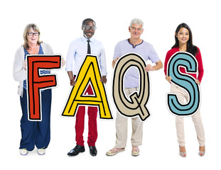 Group of People Standing Holding FAQS Concept