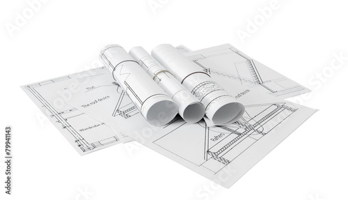 Foto op Plexiglas Wand Repair work. Drawings for building on white a background.