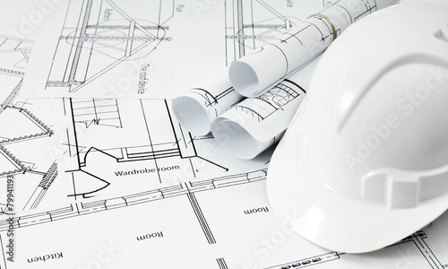 Leinwanddruck Bild Drawings for building house and helmet. Working drawings.