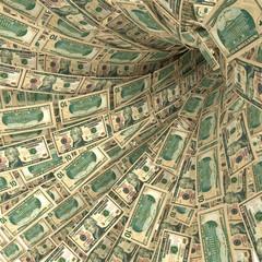 Geldstrudel aus 10 Dollarscheinen