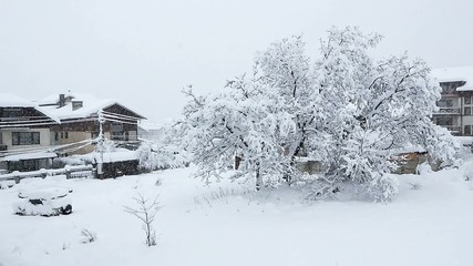 Blizzard  and heavy snowfall in Bansko, Bulgaria