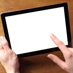 Hand with Tablet Touching the Empty White Screen