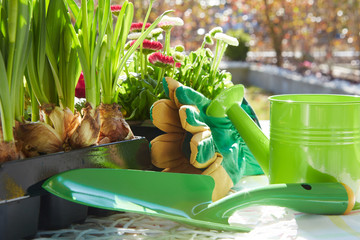 Gardening tools and a straw