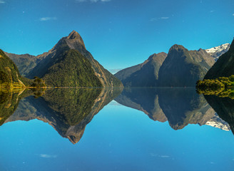 Milford sound reflection and stars