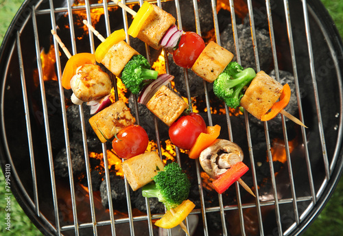 Deurstickers Grill / Barbecue Three grilled tofu or bean curd kebabs