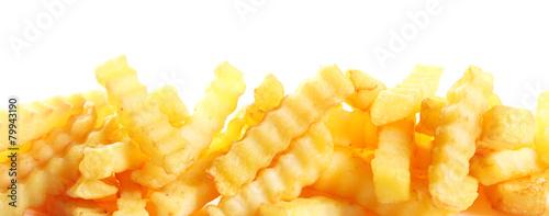 Crinkle cut fried potato chips banner - 79943190