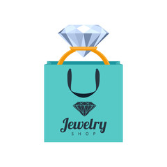 Golden ring with diamond in gift bag illustration.