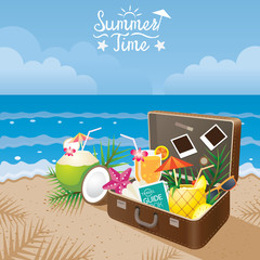 Suitcase with Summer Objects on the Beach