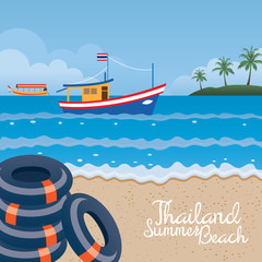 Thailand Summer Beach with Swim Ring, Boat and Island
