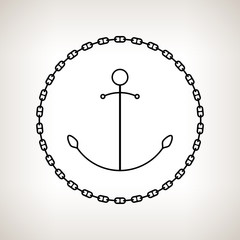 Silhouette anchor and chain on a light background