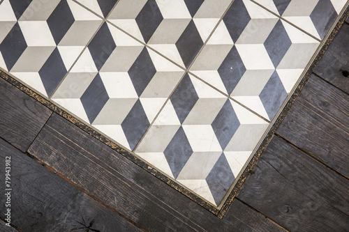 Leinwandbild Motiv Kacheln mit Muster / Dreidimensionale Quadrate