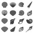 Sea Shell Flat Mono Icons Set