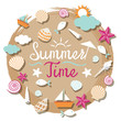Sea Shell and Summer Objects Icons Heading - 79944122