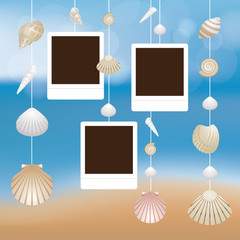 Sea Shell and Frame Hanging Mobile on Blur Background