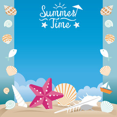 Summer Beach with Sea Shell and Starfish Frame