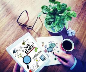 Businessman Digital Devices Job Search Online Concept