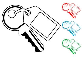 Pictograma llave con etiqueta en varios colores