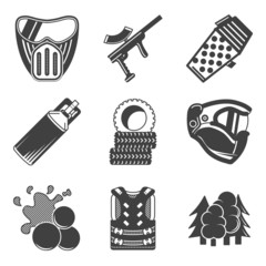 Paintball equipment black icons
